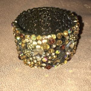 Brown neutral stoned statement cuff bracelet
